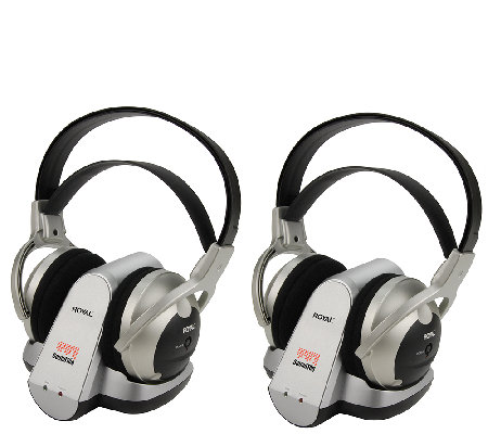 2 Pack Cordless Stereo Headphones Royal WES 50900MHZ