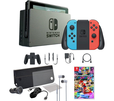 Nintendo Switch Console with Mario Kart 8 and Accessories