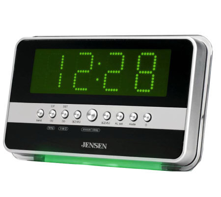 jensen am fm dual alarm clock radio with wave sensor page 1. Black Bedroom Furniture Sets. Home Design Ideas