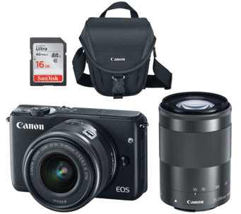 Canon EOS M10 Mirrorless 18MP Wi-Fi Camera w/ 15-45mm STM & 55-200mm Lenses - E228881