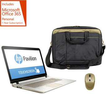 HP 17 Gold Luxe Touch Laptop AMD A10, 8GB, 1TB, Bag, Mouse Tech &MS Office - E229481
