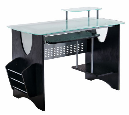 Techni Mobili Multifunction Glass Top ComputerDesk