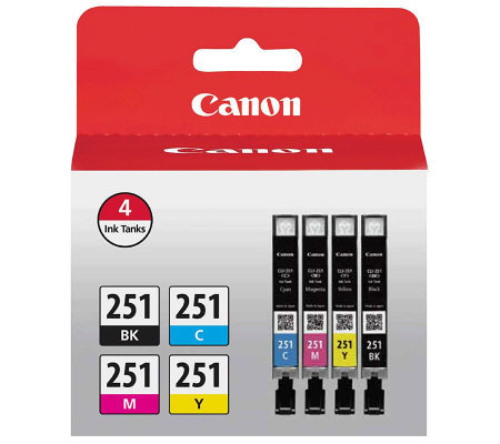 Canon CLI-251 BK/CMY 4 Value Pack Ink