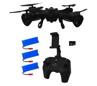 Hoverway Alpha Pro Drone 720P HD Video Live View, 16GB 3 Batteries - E229883