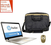"HP 17"" Touch ""Gold Luxe"" Laptop AMD A10 w/ Mouse, Bag & MS Office 365 - E229784"