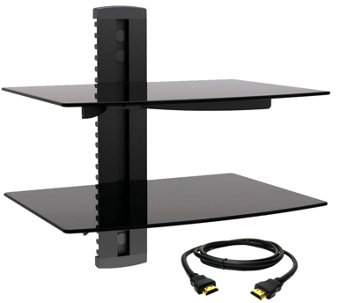 MegaMounts Tempered Glass Double-Shelf Mount w/HDMI Cable - E287488