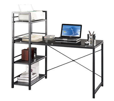 Techni Mobili Computer Desk with Four-Tier Shelf Tower