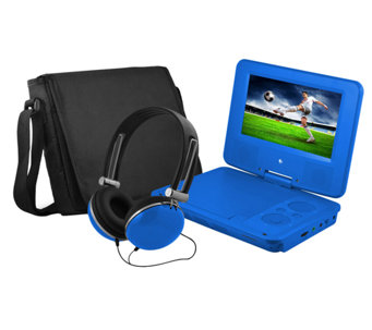"Ematic 7"" Portable DVD Player with Headphones &Carrying Bag - E277489"
