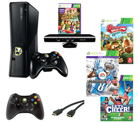 Xbox 360 4gb madden 13 kinect bundle w 4 games accessories - Xbox 360 console kinect bundle ...
