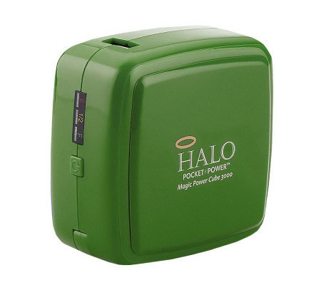 HALO 3000 mAh Portable Power Cube with Built-In Auto & Wall Charger