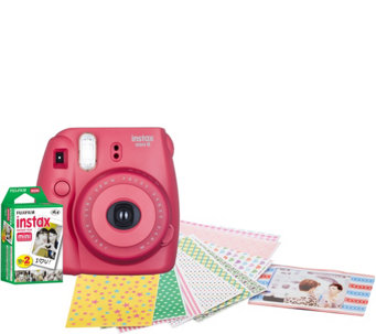 Fujifilm Instax Mini 8 Instant Print Camera w/ 20 Film Sheets & Stickers - E229193