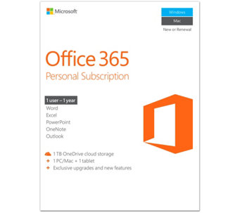 Microsoft Office 365 Personal 1 Year w/ 1TB OneDrive For PC or Mac - E229393
