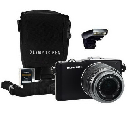 Olympus E-PM1 12.3MP Interchangeable Lens Camera w/ Accessories