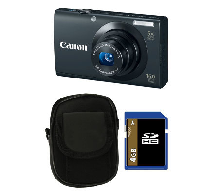 Canon PowerShot A3400 IS 16MP Digital Camera Kit w/4GB SD Card