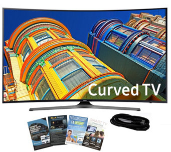 "Samsung 55"" Curved Smart 4K Ultra HDTV w/ HDMICable, App Pack - E288997"