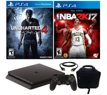 PlayStation 4 Slim 500GB Uncharted 4 w/ NBA 2K17 & Accessorie - E290397