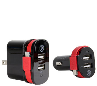 ChargeIt! Dual Output Car & Wall Charger w/ Micro USB Cable - E283498