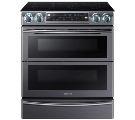 "Samsung 30"" Flex Duo Electric Range - Black Stainless Steel"