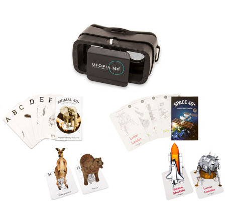 Augmented Reality 4D+ Animal Zoo Flashcards & VR Headset