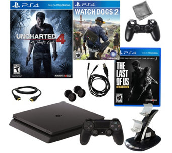 PlayStation 4 Slim 500GB Uncharted 4 Console w/The Last of Us - E290399