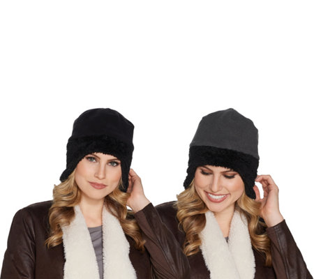 Fleece Aviator Reversible Hat with Faux Fur Trim By Sprigs