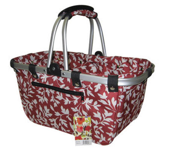Janet Basket Red Floral Large Aluminum Frame Basket - F246800