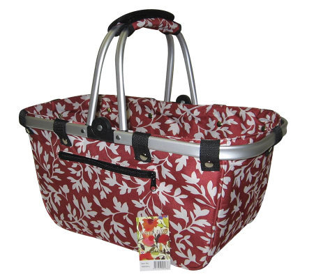 Janet Basket Red Floral Large Aluminum Frame Basket