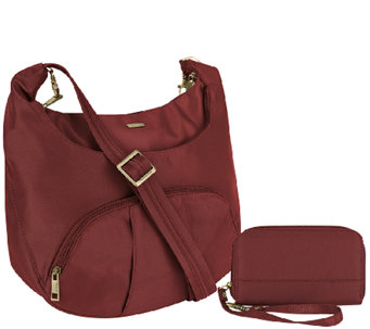 Travelon Anti-Theft Round Hobo with RFID Wristlet - F11901