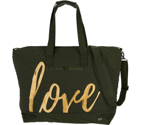 Lug Quilted Travel Tote with Embroidery - Aerial