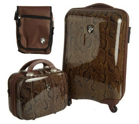 "Heys 20"" Spinner and Beauty Hard Case LuggageSet w/Crossbody Bag"