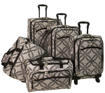 American Flyer Silver Clover 5-Piece Set Spinner Luggage - F249102