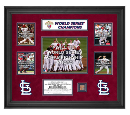 STL Cardinals 2011 WS 5-Photo Framed Collectible w/ Game-Dirt