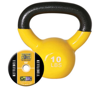 GoFit Kettelbell & Iron Core Training DVD (10 lbs/Yellow) - F195404