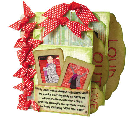 Live Out Loud Kit Ribbon Bound Canvas Book - Red w/Polka Dots