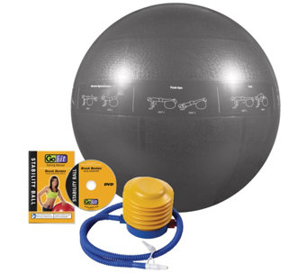 GoFit Pro 75cm Stability Ball & Core Training DVD - F195512