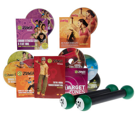 Zumba Fitness Total Body Transformation System 8 DVDSet w/Toning Sticks