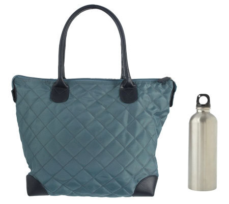 It's All in the Bag Quilted Thermal Tote with Water Bottle