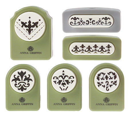 Anna griffin set of 6 decorative paper punches page 1 for Pre punched paper for crafts