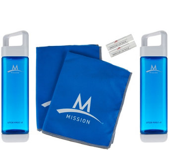 Mission Fuel & Cool Set of 2 Water Bottles & Cooling Towels - F12424