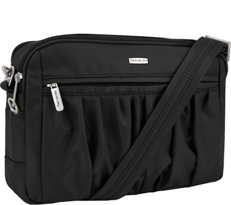Travelon Anti-Theft Square Pleated Crossbody with RFID