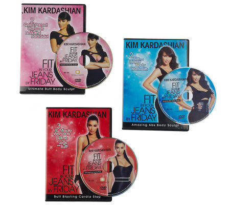 KimKardashian's &quotFit in Your Jeans byFriday&quot 3 DVD Sculpt & Cardio Workouts
