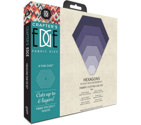 Crafter's Edge Set of Six Hexagon Fabric Dies