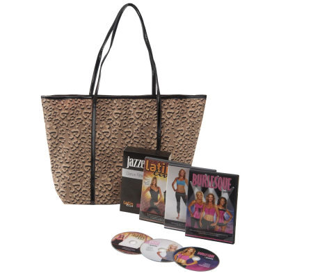 Jazzercise Dance Fitness 3 DVD Set with Leopard Print Tote Bag