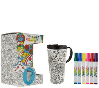 Color Your Own 17 oz. Ceramic Travel Mug w/ Markers & Gift Box - F12341