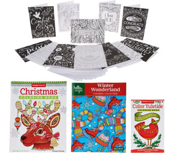 Fox Chapel S/3 Holiday Coloring Books w/ Gift Tags & Assorted Cards - F12441