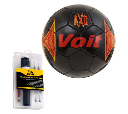 Voit Sz 5 Axe Soccer Ball w/Ultimate InflatingKit-Red/Black