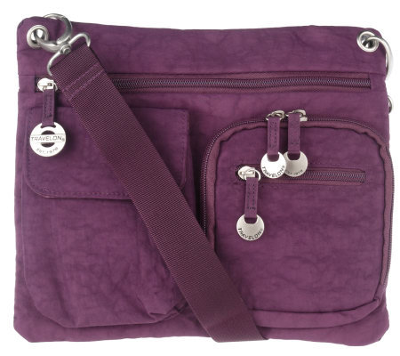 Travelon Crinkle Nylon Multi-Pocket Crossbody Bag