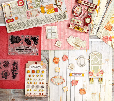 Bo Bunny Paper, Embellishment, and Stamp Bundle Set