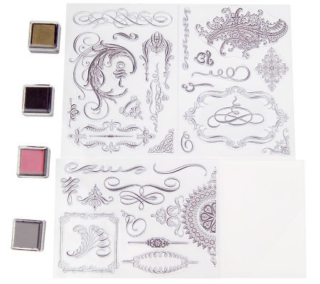 Anna Griffin 18 Flourishes Clear Stamp Kit With 4 Ink Pads