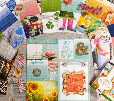 Bo Bunny Calendar Paper Bundle with Stacks and Embellishments